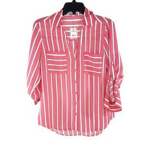 Express Pink White Striped Portofino Top